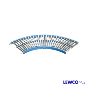 1-3/8 in. Dia. gravity roller Curves areused to provide smooth product flow on light weight packages through turns. Curves will convey products with minimum degree of pitch based on weight and size. Optional guard rails may be added for product protection.