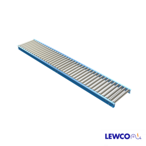"""1.9"""" Diameter 9 ga. Gravity Roller Conveyors are ideal for applications that require an economical, non-powered means for conveying material. The 1909 roller in this conveyor has a heavier wall thickness and is suitable for moderately heavier applications than it's 1912 cousin."""