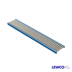 """2.5"""" Diameter 11 ga. Gravity Roller Conveyors are ideal for applications that require an economical, non-powered means for conveying material. This heavy duty conveyor is used for handling full pallets, drums, and containers."""