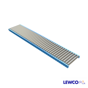 """2.5"""" O.D. x 14 ga. Gravity Roller Conveyors are ideal for applications that require an economical, non-powered means for conveying material. This conveyor is used for handling medium weight pallets, drums, and containers."""