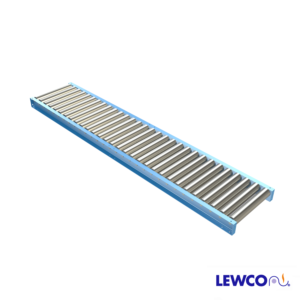 """3.5"""" Diameter, .300 Wall Gravity Roller Conveyors are ideal for applications that require an economical, non-powered means for conveying material. This heavy duty conveyor is used for handling full pallets, drums, and containers. The 3-1/2"""" o.d. x .300 wall, high capacity rollers, and standard structural channel frames, are suitable for heavy loads, and the most abusive industrial applications around."""