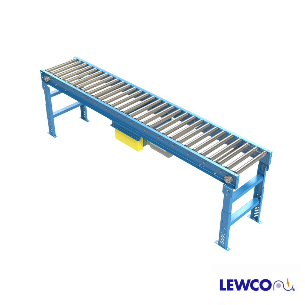 Model BDR19N is a narrow belt drive, minimum pressure accumulation conveyor with an economical design well suited for accumulation of light weight loads. The narrow belt allows options for smaller between frame widths than the standard BDLR19 conveyor.