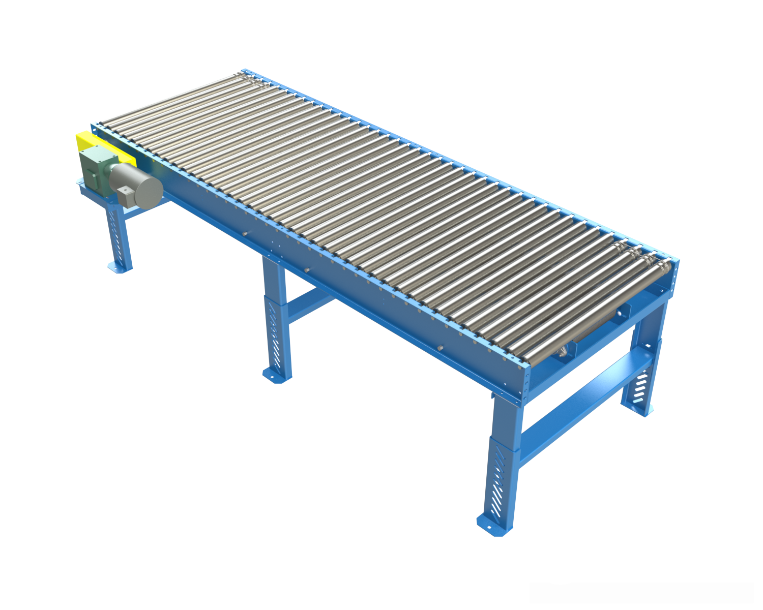 Model BDLR25 is a heavy duty, minimum pressure accumulation conveyor which provides an effective means of accumulating heavier products with minimal back pressure. This conveyor can be effective for loads that require higher capacity rollers on closer centers.