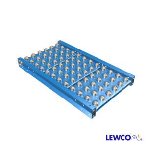 The BPC style ball table is built as a complete section that can be utilized as a free standing unit or coupled to existing sections of gravity roller conveyor and are typically used as transition or positioning areas within the line. The frames are designed to accept standard LEWCO supports.