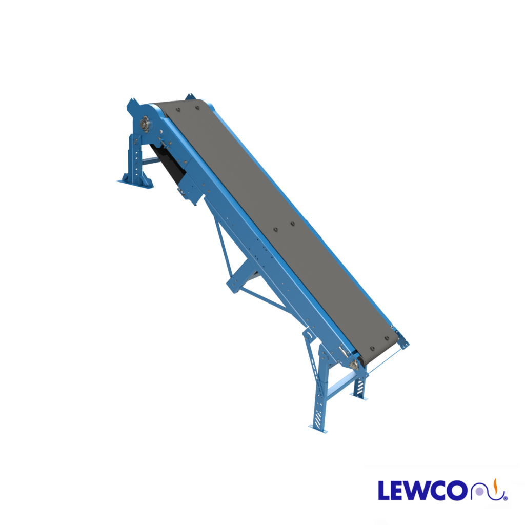 Model CFTFSB is a slider bed, inclined belt conveyor used to transport products up angles of 45 degrees or more. This economical design features a belt with 1-1/2