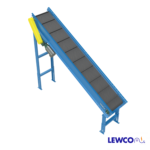 Model CMDSB is an incline slider bed belt conveyor designed for cleated belts. This conveyor can be used for inclines up to 45 degrees, conveying a variety of parts from injection molded plastic and stampings, to bags and boxes.