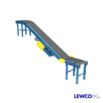 Model FTFSB is a slider bed, inclined belt conveyor used to transport product up or down at angles up to 30 degrees. It can also be used as a booster conveyor in a system where gravity is used further downstream in a conveyor line.