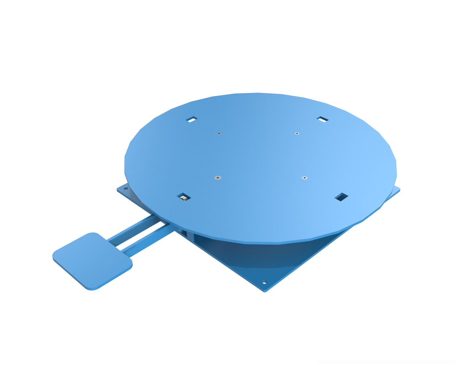Model LPT is a heavy duty turntable that can be used for loading or unloading pallets, tote pans and boxes. In assembly or repair operations it provides convenient access to all sides of the equipment.