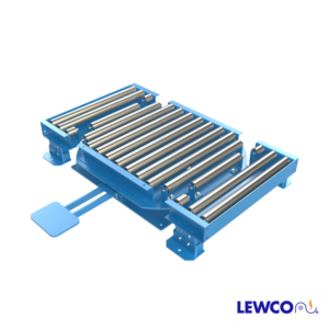 Model LPTG is a heavy duty turntable featuring a 1912 gravity roller top and concave transition sections (2 included) that can be used in a pass thru conveyor line. The transition section can be reconfigured to make 90° turns at the intersection of two gravity conveyor lines.
