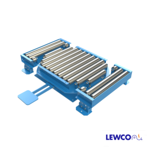 Model LPTG25 heavy duty turntable featuring a 2511 gravity roller top and concave transition sections (2 included) that can be used in a pass thru conveyor line. The transition section can be reconfigured to make 90° turns at the intersection of two gravity conveyor lines.