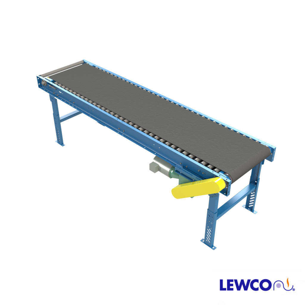 Model MDRB is a medium duty roller bed belt conveyor. Due to the low friction roller bed, it's capable of moving heavier loads with less power than typical slider bed belt conveyors.