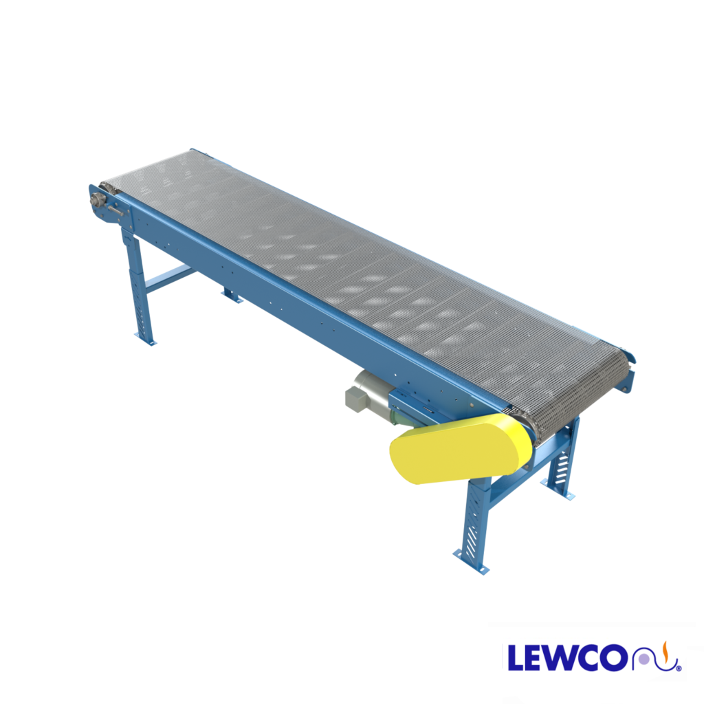 Model MDRWM is a flat wire mesh, roller bed belt conveyor used in applications where hot, cold or oil soaked parts are conveyed. The roller bed design is capable of moving heavier loads with less power, and the open bed construction allows for free air flow, which is ideal for drying or cooling applications. The conveyor can be used to convey parts up to 400 degrees F.