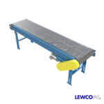 Model MDSWM is a flat wire mesh, slider bed belt conveyor used in applications where hot, cold or oil soaked parts are conveyed. It can also be used in drying or cooling applications because the open bed construction allows for free air flow. The conveyor can be used to convey parts up to 400 degrees F.