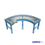 Model MDTLRC is a belt driven live roller curve that can provide positive drive for negotiating 90, 45, and 30 degree turns. Used in light and medium duty applications, the tapered rollers help maintain product orientation through the curve.