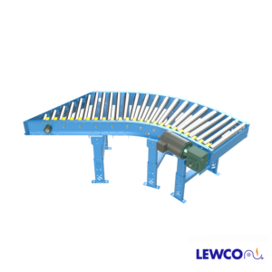 Model MDTLRS is a combination spur and curve live roller conveyor used to divert off, or merge on, main trunk line conveyors at various angles. This unit is offered in 30, 45, and 60 degree options.
