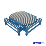 Model NPTG19 non-powered gravity conveyor turntable provides a transition that can be used in a pass thru conveyor line. The transition section can be reconfigured to make 90° turns at the intersection of two gravity conveyor lines.