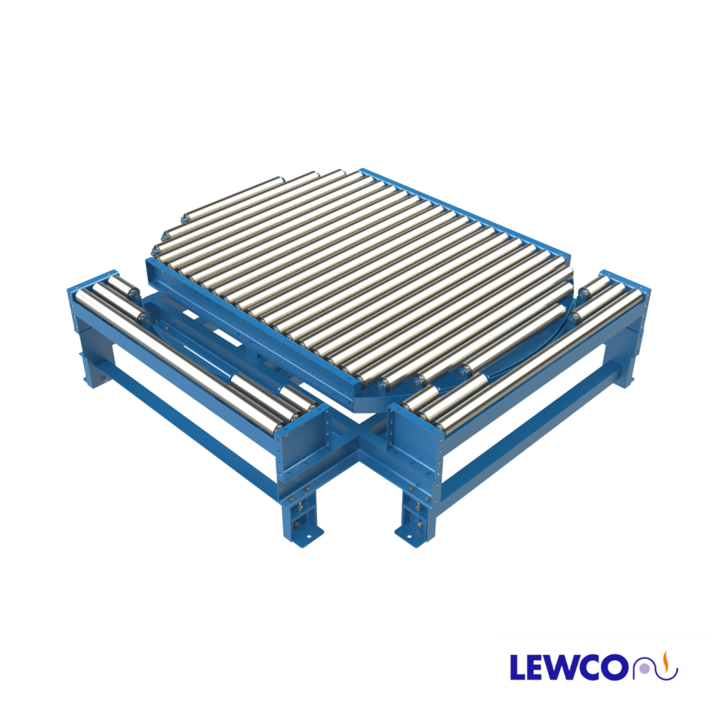 Model NPTG25 non-powered gravity conveyor turntable provides a transition that can be used in a pass thru conveyor line. The transition section can be reconfigured to make 90° turns at the intersection of two gravity conveyor lines.