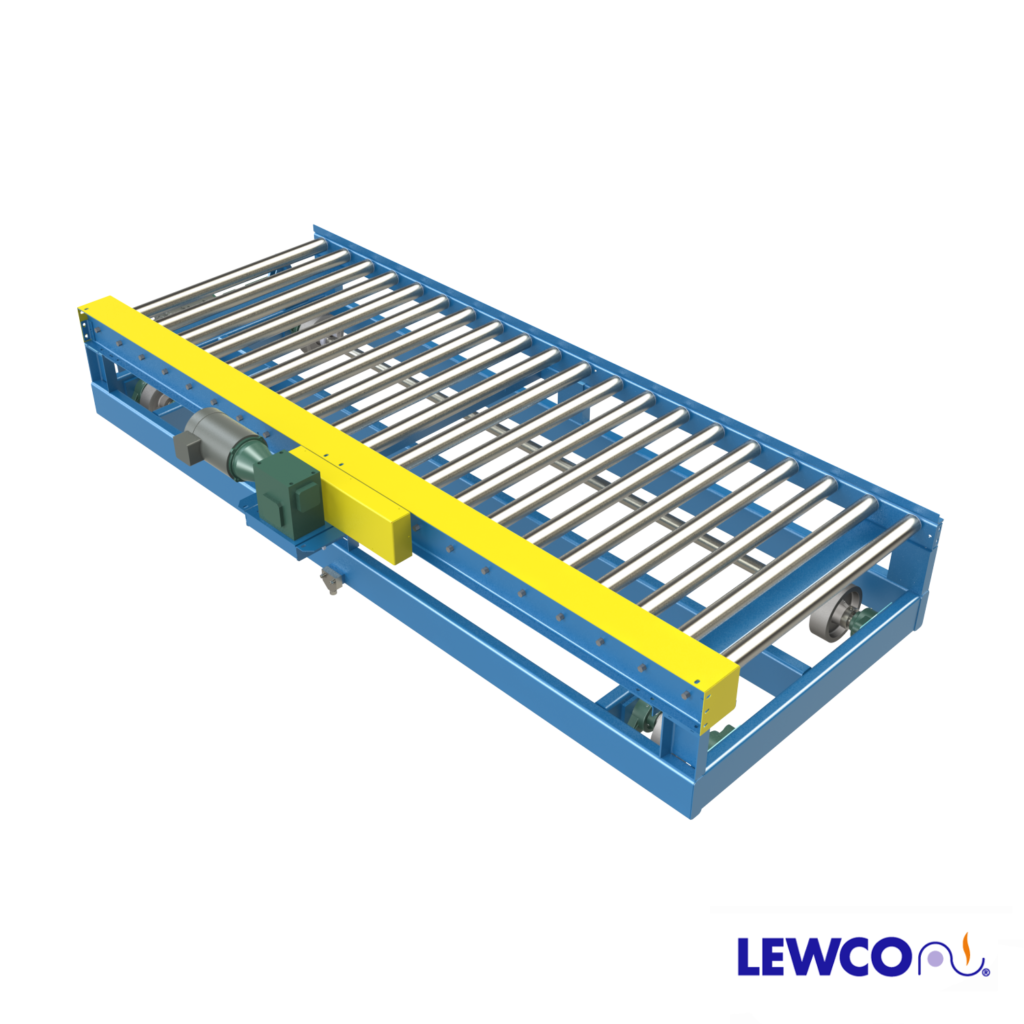 Model TCP1909 is a powered transfer car with medium duty powered conveying surface. Typically used to transfer products requiring tight roller centers from one lane to another parallel lane within a system.
