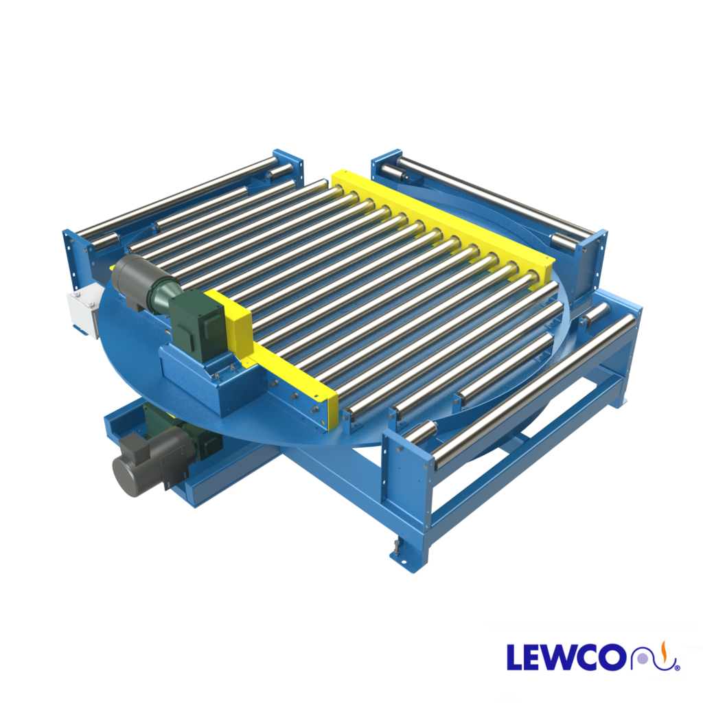 The Model PP360 Turntable features full 360° powered rotation. This unit is ideal for heavy duty applications requiring powered versus manual rotation. The PP360 can be fitted with various styles of powered conveyor such a multi-strand chain or chain driven live roller to convey material on and off of the turntable.