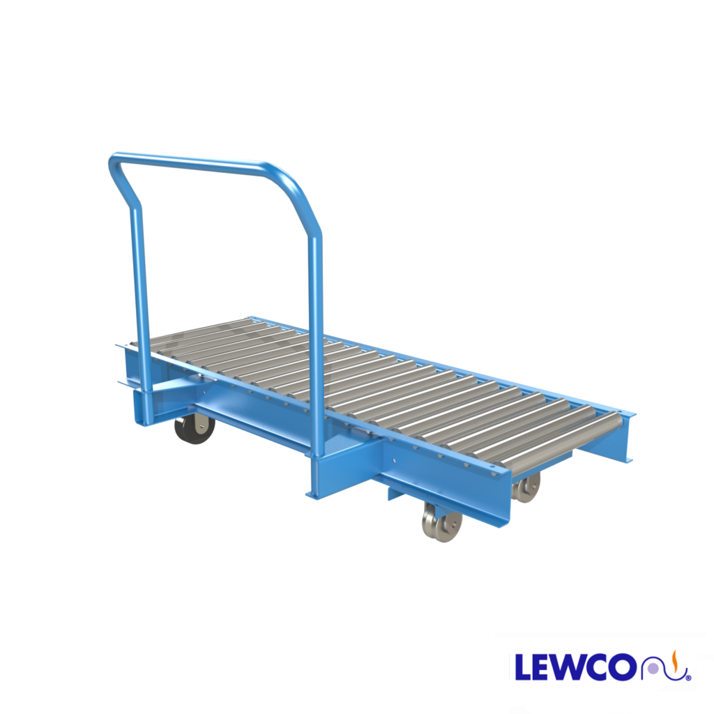 Model PTTC19 is a medium duty manual transfer car and is typically used to transfer products across an aisle way in parallel conveying lines.