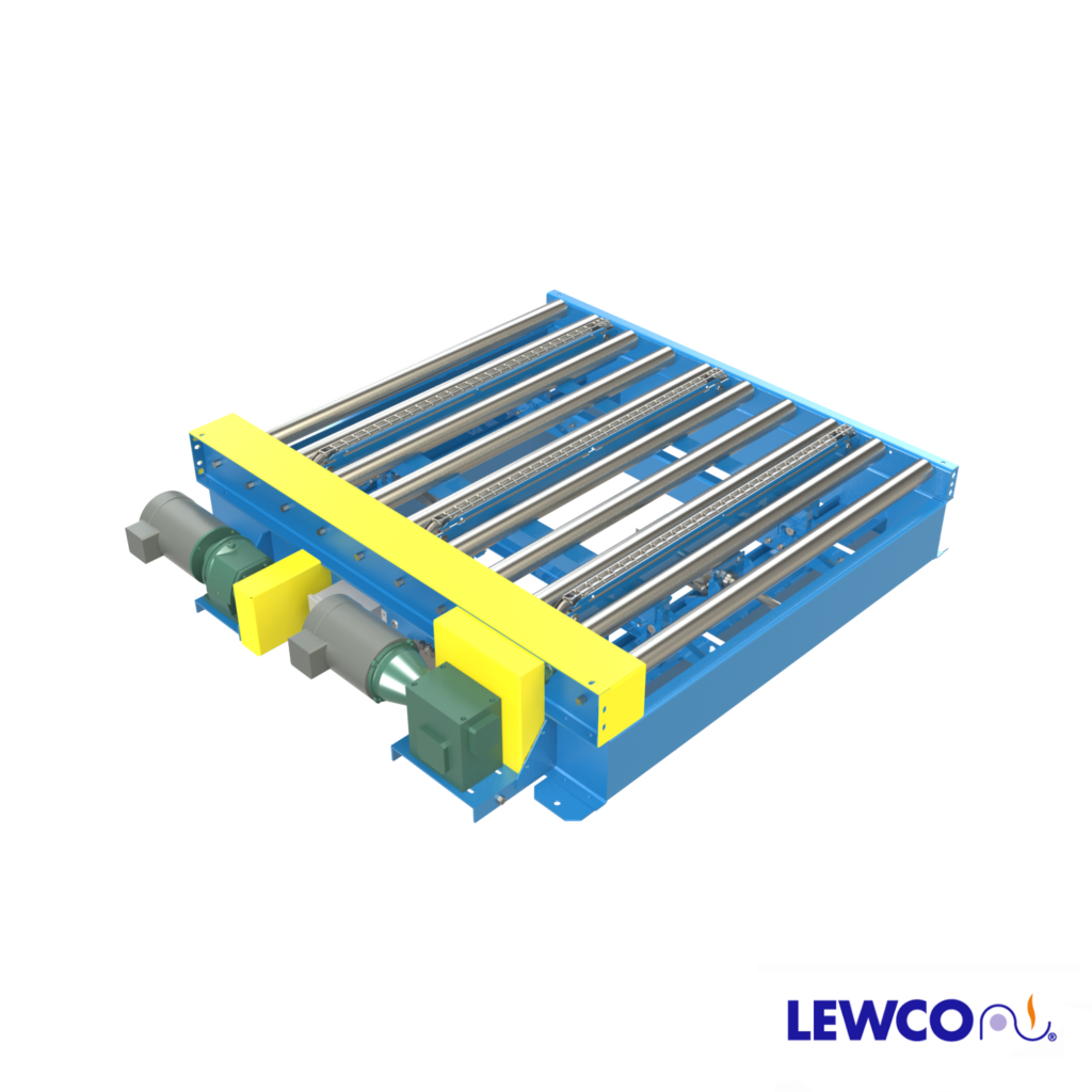 The 1500 lb. capacity Model T01C25 is a CDLR25 conveyor with integral pneumatic actuated pop-up chain transfer. Transfer chains are kept within the effective width of the CDLR. This rugged design is ideal for transferring pallets and containers with bottoms capable of conveying at right angles over the small gap that exists because of the conveyor side frame rail.