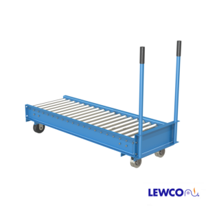 Model TC1916 medium duty manual transfer car allow product to be moved from one lane to another parallel lane within a system. These units are fixed to a set of tracks which facilitate easy movement and positioning in front on the lanes to be loaded or unloaded from the car.