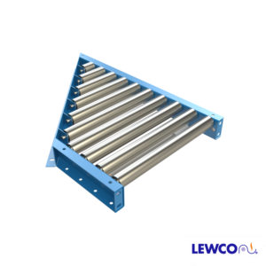 """1.9"""" Diameter 16 ga. Gravity Roller Spurs are used to divert off, or merge on, main trunk line conveyors at various angles. They are often used when several lines transfer onto a main conveyor line, from work stations or similar applications."""