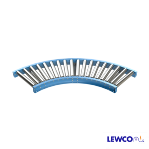 "2.5"" Diameter 11 ga. Gravity Roller Curves are used to provide smooth product flow through turns. Curves will convey products with minimum degree of pitch based on weight and size. Optional guard rails may be added for product protection."