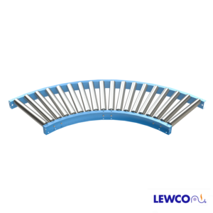 """2.5"""" O.D. x 14 ga. Gravity Roller Curves are used to provide smooth product flow through turns. Curves will convey products with minimum degree of pitch based on weight and size. Optional guard rails may be added for product protection."""