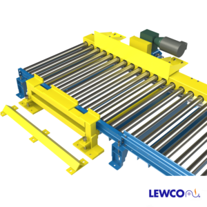 Chain Driven Live Roller Conveyor with Fork Truck Pallet Stripper for Side Loading