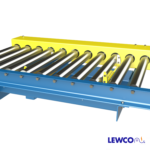Chain Driven Live Roller Conveyor with Pop-Up Pin Stops Located Between Rollers