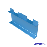 Model ESTOP3 channel end stop is commonly used to stop product on a gravity conveyor lines that will be loaded or unloaded with a fork truck.