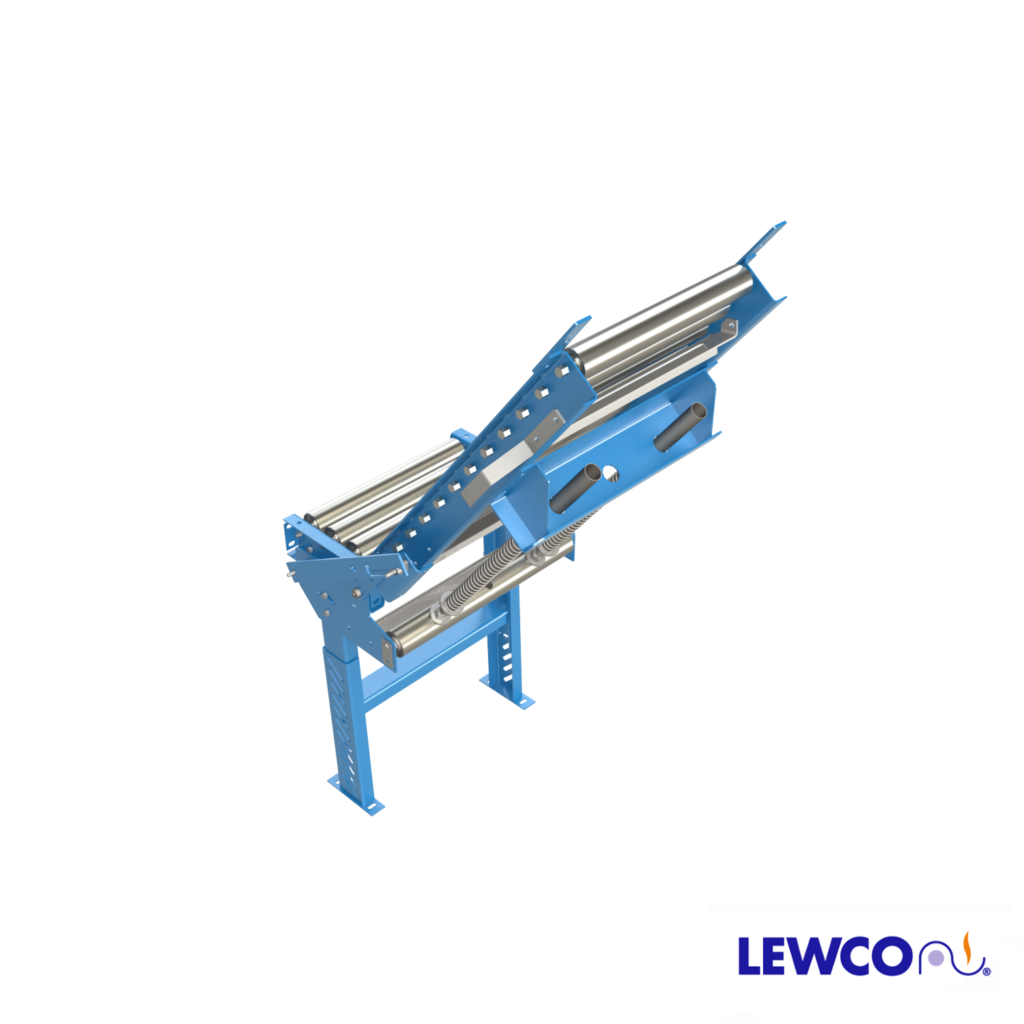 This hinged conveyor provides an opening for convenient access to either side of a conveyor line. Low maintenance design, can be easily adjusted to lift with a minimal amount of effort.