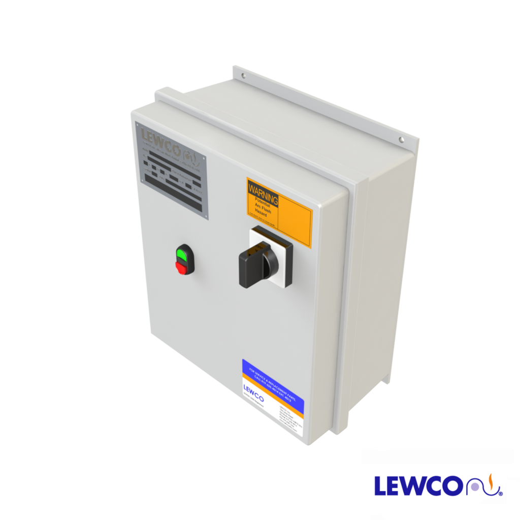 Non-Reversing Combination Starter provides the ability to turn the conveyor on/off with a disconnect switch. This control also gives the option of running at a variable speed in one direction. Also, this package is used between the power source and motor to provide short circuit and overload protection.