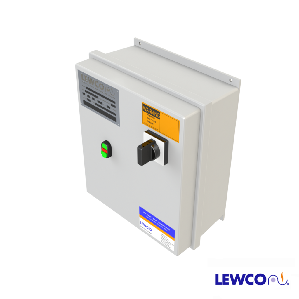 Reversing Combination Starter provides the ability to turn the conveyor on/off with a disconnect switch. This control also gives the option of running at a variable speed moving forward or in reverse. Also, this package is used between the power source and motor to provide short circuit and overload protection.