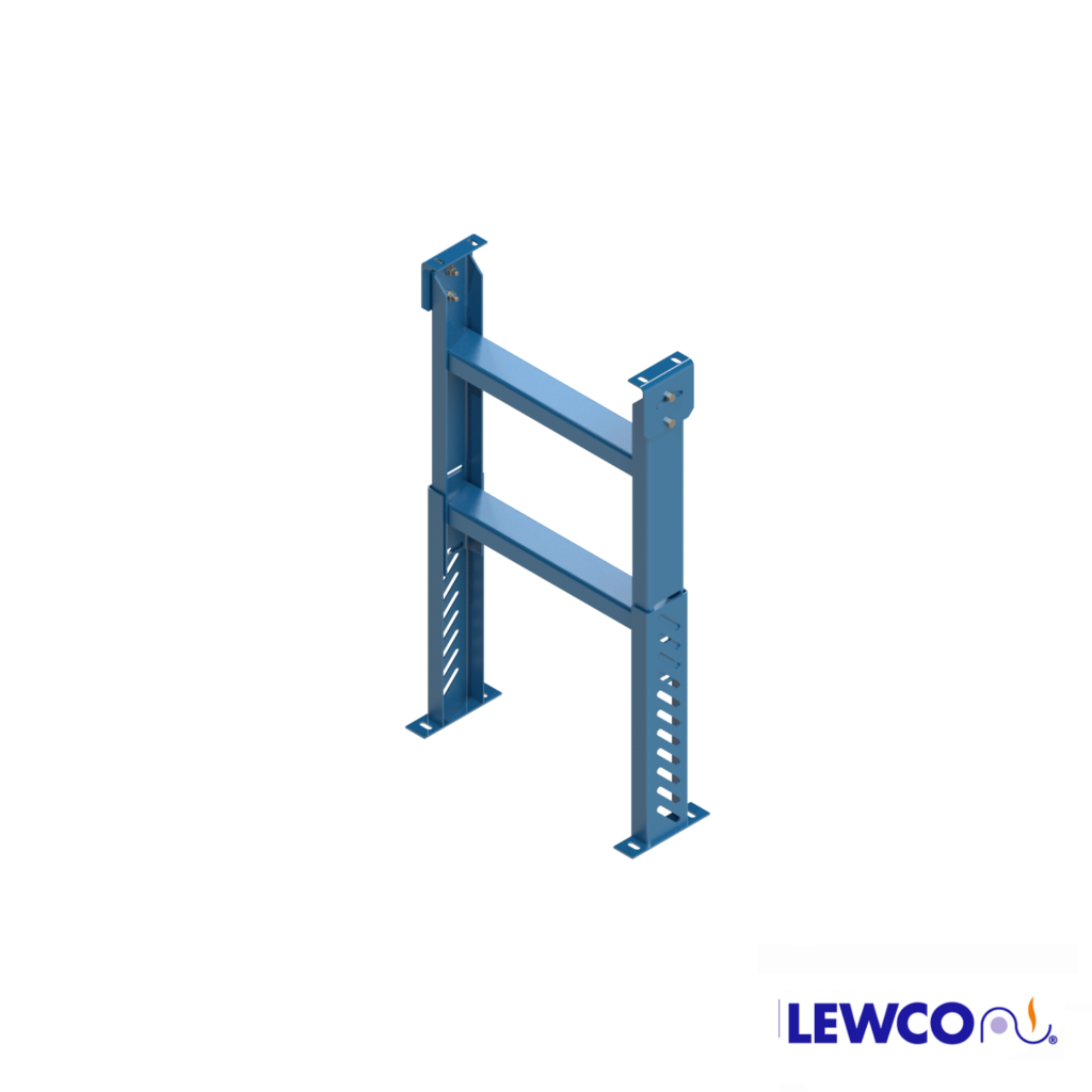 "SPH model heavy duty, stationary ""H"" style floor supports are easily adjusted and anchored. These supports feature a top pivot plate for applications requiring the conveyor to be set on an angle."