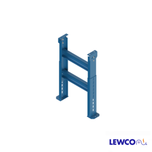 """SPS model heavy duty, structural steel, stationary """"H"""" style floor supports are easily adjusted and anchored. These supports feature a top pivot plate for applications requiring the conveyor to be set on an angle."""